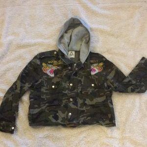 UNIF camo jacket with gray hood tiger yell